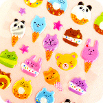 Kawaii Animal Desserts Sponge Stickers