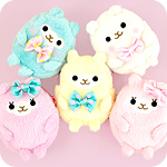 Pastel Alpaca Furry Mini-Case Keychain