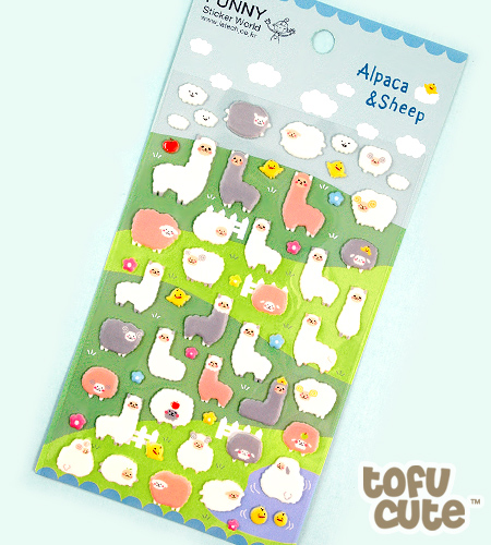 Buy kawaii alpaca sheep sponge stickers at tofu cute