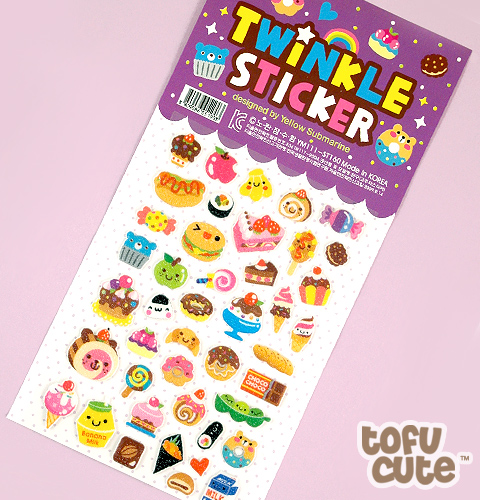 Buy Kawaii Food with Faces Twinkle Stickers - Purple at ...