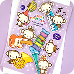 Monkey Musical Party 3D Greeting Card