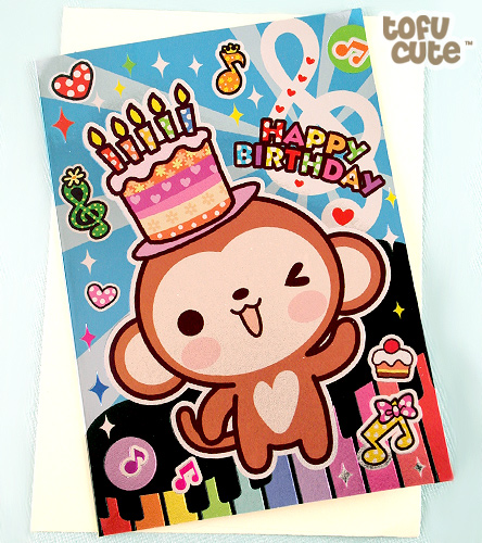 Buy Kawaii Metallic Monkey Piano Birthday Card At Tofu Cute