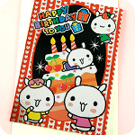 Metallic Bunny Birthday Cake Card