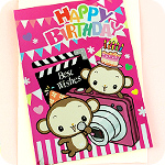 Metallic Monkey Camera Birthday Card